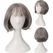 YX Straight Short Hair air Fringe Curly Bob Wigs (Grandma Grey) /Cosplay Wigs