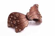 Flower French Acetate Rhinestone Hair Clips crystal barrettes hairpins Hair Jewellery, Coffee
