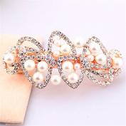 Korean Style White Plastic Pearl Jewellery for Woman Hollow Rhinestone Hair Bow Barrette Girls Large Pearl Flower Barrette, White