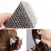 Crystal White Rhinestone Rhombus Vintage Hair Clip Simple Barrette for Hair Silver Ponytail Barrette, Silver