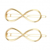 2 Pcs Womens Positive Infinity Symbol Hairpin Clip Golden Metal Headwear Hair Accessories