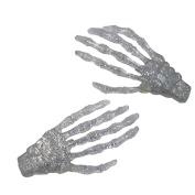 Kreepsville 666 Skeleton Bone Hand Hairslides Silver Glitter