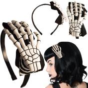 Women's Kreepsville 666 Skeleton Hand Alice Band Hypno /White