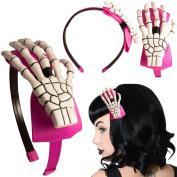 Women's Kreepsville 666 Skeleton Hand Alice Band Pink /White