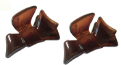 Parcelona French Bow Set of 2 Small Celluloid Tortoise Shell Jaw Hair Claw Clamp Clutcher Clip