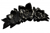 Parcelona French Flowers Celluloid Black Narrow Hair Claw Jaw Clip Clamp Clutcher