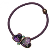 Tamarusan Ponytail Holder Marble Purple Fashionable Simple Heart Rhinestone Handmade Resin Original