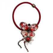 Tamarusan Ponytail Holder Red Sixtieth Birthday Celebration Fashionable Butterfly Race Flower Coral