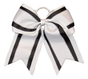 """NEW """"Black & White Glitz"""" Cheer Bow Pony Tail 7.6cm Inch Ribbon Girls Hair Bows Cheerleading Dance Practise Football Games Uniform Competition"""