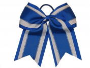 """NEW """"Royal Blue Glitz"""" Cheer Bow Pony Tail 7.6cm Inch Ribbon Girls Hair Bows Cheerleading Dance Practise Football Games Uniform Competition"""