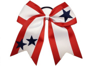 """New """"STARS TRIO"""" Cheer Hair Bow Pony Tail 7.6cm Ribbon Cheerleading Practise Football Games Uniform Hairbow 4th of July Patriotic USA"""