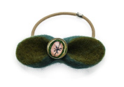 Tamarusan Pony Tail Holder Felt Ribbon Green Blue Lemon Pattern