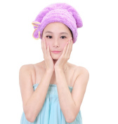 Microfiber Dry Hair Towel - Quick Drying - Turban - Professional Salon Wrap - Extra Soft and Absorbent - No Frizz-purple