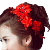 Casualfashion Handmade Bridal Red Flower Lace Headdress Marry/Toast Clothing Hair Accessories Women