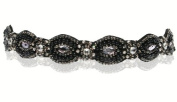 Beautiful Black with Diamond Accent Gatsby Flapper 1920's Rhinestone and Beaded Headband. Comes with Look Sheet 18 Inspired Great Gatsby 20's Styles