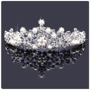 Casualfashion Bridal Rhinestone Crown Tiaras Princess Pearls Headband Hair Jewellery