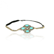 Turquoise Blue Stone with Diamond Crystal Cross Headband Rhinestone Elastic Stretch Headband with Style Guide 20 Different Ways to Wear for Graduation. Prom, Bridesmaid