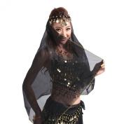 TFJH Belly Dance Chiffon Big Veil Shawl Skirt Scarf Gypsy Gold Trim Headscarf Headband