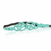 Turquoise Blue Diamond Crystal Headband Rhinestone Elastic Stretch Headband with Style Guide 20 Different Ways to Wear for Graduation. Prom, Bridesmaid