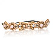 Bridal Wedding Soft Pastel Pinks and Canary Yellow Rhinestone Diamond Adjustable Headband Elastic Vintage Bohemian