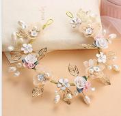 FANTASIEN Bridal Wedding Crystal Pearl Lace Chiffon Flower Headdress Flower Hair Accessories Handmade Headwear