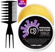 Hair Styling Gel Wax and DJ Comb - DJ Wax - the Best Hair Wax for Elastic and Strong Hold - Professional Formula - Styling Pomade - Wet Look