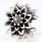Choruslove Edelweiss Flower Crystal Charm 925 Antique Sterling Silver Bead for European Bracelet