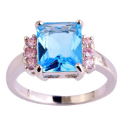 Narica Womens Novelty Princess Cut Blue Topaz Cocktail Ring