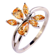 Narica Womens Novelty Cluster Leaf Shaped Morganite CZ Cocktail Ring