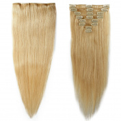 My Lady 60cm Double Weft 8Pcs 18 clips in Remy Human Hair Extension Bleach Blonde