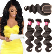 Longqi Beauty 3 Bundles Wavy Hair Brazilian Virgin Body Wave Weave with Middle Part Lace Closure Grade 6a 100% Unprocessed Virgin Human Hair Extensions Natural Colour