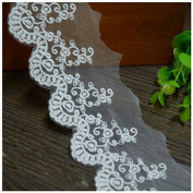 Ivory 2 Yards Retro Fabric Embroidered Mesh Lace Bridal Veils Sewing Lace Costumes Supplies 5.1cm Wide
