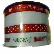 Holiday Christmas Spritz Fabric Ribbon 4 End X 12m Red & White