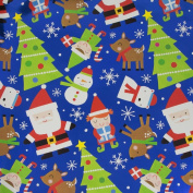 JAM Paper® Christmas Design Wrapping Paper- 2.3sqm - Metallic Blue North Pole Characters - Sold Individually