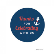 Andaz Press Nautical Ocean Adventure Wedding Collection, Round Circle Label Stickers, Thank You for Celebrating With Us, 40-Pack