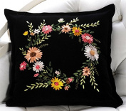Cross Stitch Hold pillow Colourful Flowers 45*45cm