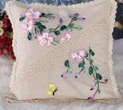 Cross Stitch Hold pillow Pink flowers 45*45cm
