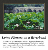 Lotus Flowers on a Riverbank, Cross Stitch Pattern, Counted Cross Stitch Pattern