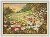 Joy Sunday® Cross Stitch Kit 14CT Stamped Embroidery Kits Precise Printed Needlework- eautiful Flowers (2) 59×43CM