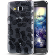 Galaxy Core Prime Case,ikasus Crystal Clear Black Art Series Scratch-Resistant Ultra Slim Flexible Frame Silicone Soft TPU Bumper Rubber Protective Case Cover for Samsung Galaxy Core Prime G360,C