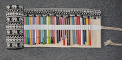 Orchidtent Canvas Pencil Wrap, Pencils Roll Pouch Case Hold For 72 Coloured Pencils ( Pencils are NOT INCLUDED )-72 Slots, Bohemian Style + Elephant Style 72 Holes, Retro elephant
