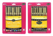 Sakura 8-Piece Pigma Micron Assorted Colours Pen Set (30068) with Sakura 8-Piece Pigma Micron, Graphic & Brush Pen Set, Black