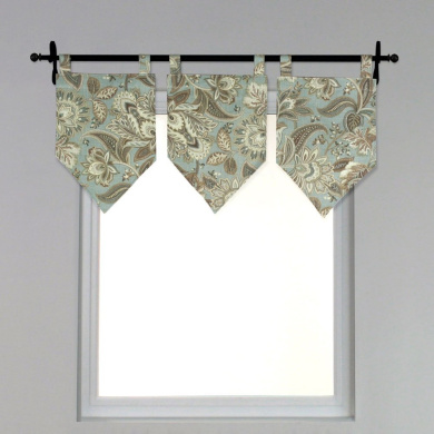 Brite Ideas Living Valdosta Seamist Tab Top Stitched V Valance, 13 by 21
