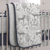 Carousel Designs Navy and Grey Woodland Crib Comforter