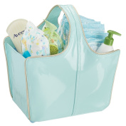 mDesign Baby Nursery Tote Bag for Nappies, Wipes, Powder - Vegan Patent Leather, Medium, Mint/Gold
