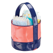 mDesign Baby Nursery Tote Bag for Nappies, Wipes, Powder - Vegan Patent Leather, Navy/Coral