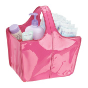 mDesign Baby Nursery Tote Bag for Nappies, Wipes, Powder - Vegan Patent Leather, Medium, Fuchsia/Pink