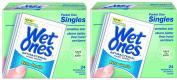 Wet Ones Sensitive Skin Hand and Face Wipes Singles, 24-Count