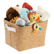 mDesign Baby Nursery Organiser Storage Bin for Nappies, Stuffed Animals, Towels, Blankets - Medium, Cork/White