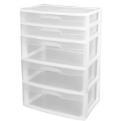 Sterilite 5-Drawer Wide Tower, White (Wheels Not Included) for Kids